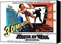 1950s Poster Art Canvas Prints - House Of Wax, 1953 Canvas Print by Everett