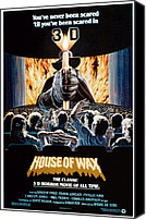 1953 Movies Canvas Prints - House Of Wax, Reissue Poster Art, 1953 Canvas Print by Everett