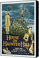 1950s Poster Art Canvas Prints - House On Haunted Hill, Alternate Poster Canvas Print by Everett