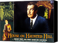 1950s Poster Art Canvas Prints - House On Haunted Hill, Vincent Price Canvas Print by Everett