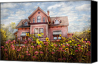 Old Houses Canvas Prints - House - Victorian - Summer Cottage  Canvas Print by Mike Savad