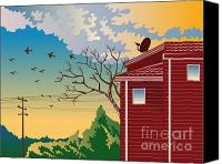 Power Lines Canvas Prints - House With Satellite Dish Retro Canvas Print by Aloysius Patrimonio