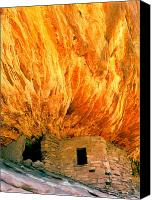 Indian Ruins Canvas Prints - House with the Flaming Roof Canvas Print by Frank Houck