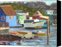 Sausalito Painting Canvas Prints - Houseboats at Sausalito Canvas Print by Deborah Cushman