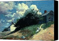 Sat Canvas Prints - Houses on a Hill Canvas Print by Winslow Homer