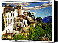 Ronda Canvas Prints - Houses on the Cliff in Ronda Spain Canvas Print by Mary Machare