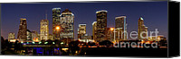 Skyline Canvas Prints - Houston Skyline at NIGHT Canvas Print by Jon Holiday