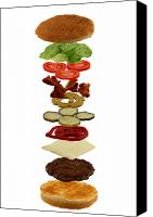 Bread Canvas Prints - How to build a hamburger Canvas Print by Gert Lavsen