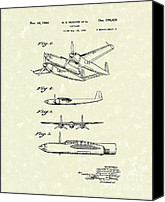 Antique Drawings Canvas Prints - Howard Hughes Airplane 1944 Patent Art  Canvas Print by Prior Art Design