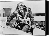 Mono Canvas Prints - Howard Hughes Emerging From An Airplane Canvas Print by Everett