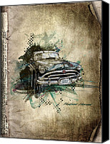 Transportation Mixed Media Canvas Prints - Hudson Hornet Canvas Print by Svetlana Sewell