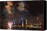 July 4th Canvas Prints - Hudson River Fireworks IV Canvas Print by Clarence Holmes