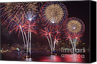 4th Of July Canvas Prints - Hudson River Fireworks VIII Canvas Print by Clarence Holmes