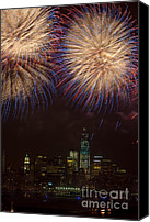 4th July Canvas Prints - Hudson River Fireworks XI Canvas Print by Clarence Holmes