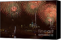 4th Of July Canvas Prints - Hudson River Fireworks XII Canvas Print by Clarence Holmes