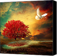 Maple Trees Digital Art Canvas Prints - Hued Canvas Print by Lourry Legarde