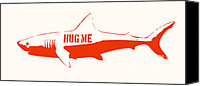 Cream Canvas Prints - Hug Me Shark Canvas Print by Pixel Chimp