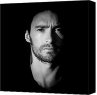 Anibal Diaz Canvas Prints - Hugh Jackman Black and White by GBS Canvas Print by Anibal Diaz