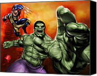 Cartoon Drawings Canvas Prints - Hulk Canvas Print by Pete Tapang