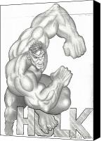 T-shirt Drawings Canvas Prints - Hulk Canvas Print by Rick Hill