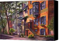 Savannah Square Canvas Prints - Hull Street In Chippewa Square Savannah Canvas Print by Jeff Pittman