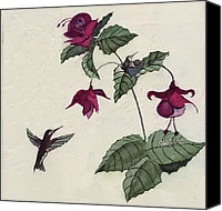 Hummingbird Tapestries - Textiles Canvas Prints - Hummer Family Canvas Print by Alexandra  Sanders