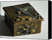 Insects Sculpture Canvas Prints - Hummingbird Box with Painted Patina - wild mint side Canvas Print by Dawn Senior-Trask