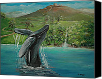Breaching Painting Canvas Prints - Humpback Whale Breaching at Haleakala Hawaii Canvas Print by Bernadette Krupa