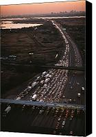 Twilight Views Canvas Prints - Hundreds Of Cars Line Up To Pay A Toll Canvas Print by Melissa Farlow