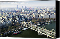 Tourist Attraction Canvas Prints - Hungerford Bridge seen from London Eye Canvas Print by Elena Elisseeva