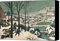 Snow Canvas Prints - Hunters in the Snow Canvas Print by Pieter the Elder Bruegel