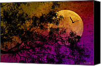 Photomanipulation Photo Canvas Prints - Hunters Moon Canvas Print by Karen Slagle