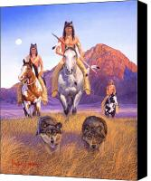 Southwest Canvas Prints - Hunters Of The Full Moon Canvas Print by Howard Dubois