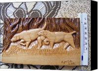 Forest Pyrography Canvas Prints - Hunting dogs-wood carving relief and pyrography Canvas Print by Egri George-Christian