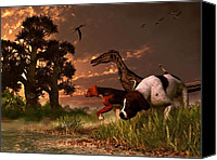 Pet Portrait Digital Art Canvas Prints - Hunting in the Age Gene Splicing Canvas Print by Daniel Eskridge
