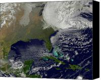 Natural Disasters Canvas Prints - Hurricane Sandy Battering The United Canvas Print by Stocktrek Images