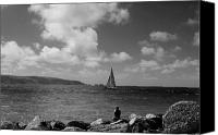 Black And White Yacht Canvas Prints - Hurst Point watching BW Canvas Print by David French