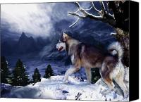 Mountain Scene Mixed Media Canvas Prints - Husky - Mountain Spirit Canvas Print by Carol Cavalaris