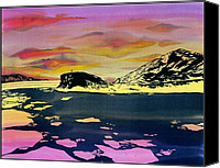 Winter-landscape Tapestries - Textiles Canvas Prints - Hut Point Antarctica Canvas Print by Carolyn Doe