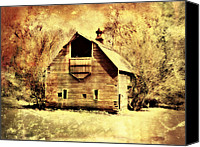 Barn Digital Art Canvas Prints - Hwy 20 Barn Canvas Print by Julie Hamilton