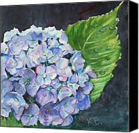 Droplet Painting Canvas Prints - Hydrangea and Water Droplet Canvas Print by Katherine  Berlin