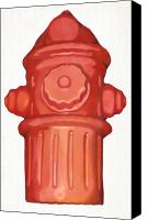 Shaped Painting Canvas Prints - Hydrant Canvas Print by Karl Frey