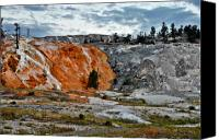 Montana Canvas Prints - Hymen Terrace at Mammoth Hot Springs - Yellowstone National Park WY Canvas Print by Christine Till