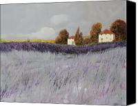 Grey Painting Canvas Prints - I Campi Di Lavanda Canvas Print by Guido Borelli