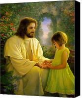 Green Canvas Prints - I Feel My Saviors Love Canvas Print by Greg Olsen