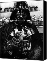 Dessert Drawings Canvas Prints - I Find Your Lack of Hunger Disturbing - Darth Vader  Canvas Print by Ryan Jones