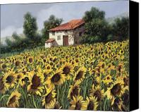Farm Canvas Prints - I Girasoli Nel Campo Canvas Print by Guido Borelli