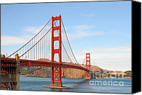 Structures Canvas Prints - I guard the California shore - Golden Gate Bridge San Francisco CA Canvas Print by Christine Till