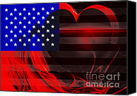 4th Digital Art Canvas Prints - I Love America Canvas Print by Wingsdomain Art and Photography
