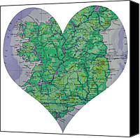 Engagement Photo Canvas Prints - I Love Ireland Heart Map Canvas Print by Georgia Fowler